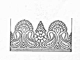 Saree border design drawing for hand embroidery