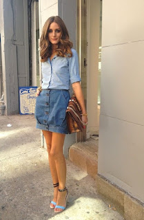 Look ganga total - mini-saia e camisa