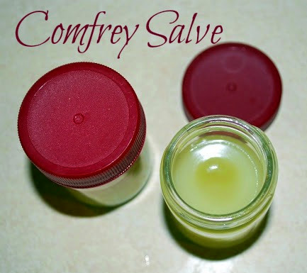 Jars of comfrey salve