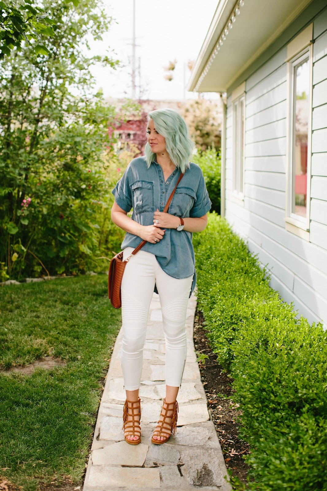 Denim top, Utah Fashion Blogger, White Moto Jeggings