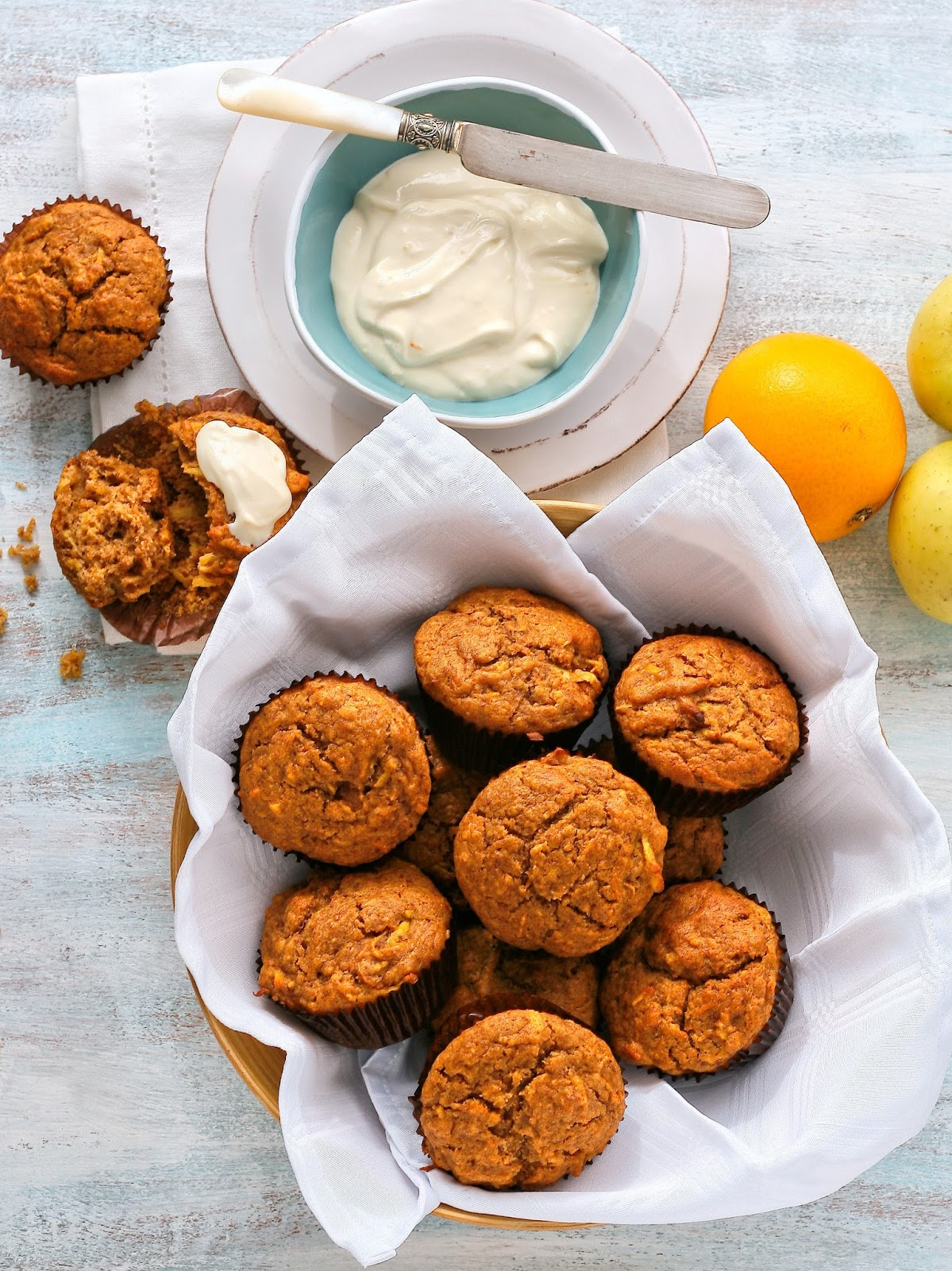 Date muffins with cream cheese topping.