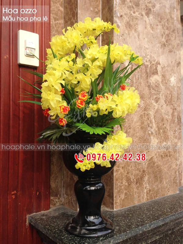 Hoa pha lê Ozzo vàng 7 cành - Hoa đá nghệ thuật