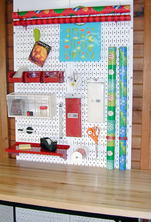 pegboard gift wrapping organization