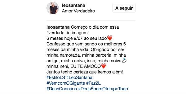 Textos 4 Meses De Namoro: Léo Santana Anuncia Noivado Com Bailarina Do Faustão Após
