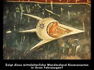 This medieval wall painting shows cosmonauts in their vehicles