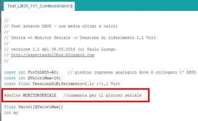 Fig. 5 - Il nuovo sketch per LM35 ed il monitor seriale di Paolo Luongo