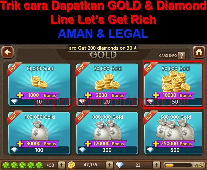 Trik Cara dapatkan Gold & Diamond Line Let's Get Rich Gratis Terbaru