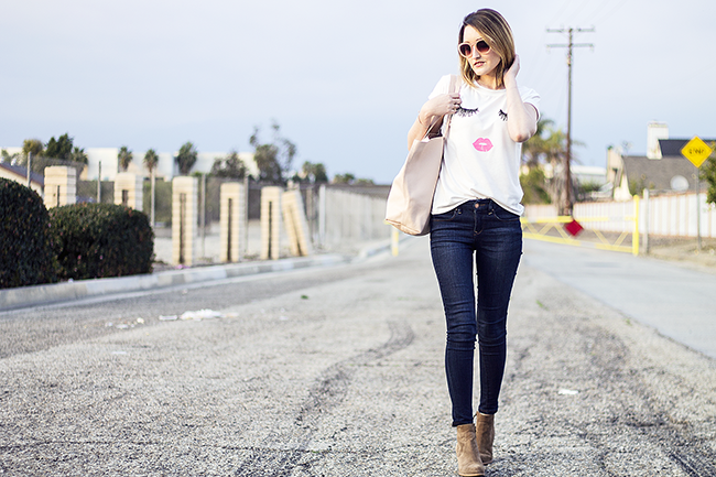 Lashes and Lips Tee Shirt with The Limited Skinny Jeans and Booties