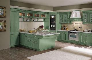 cocina clásica color verde