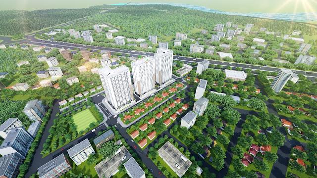 Phối cảnh tổng thể dự án Xuân Mai Tower