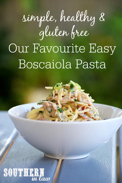 Healthy Easy Boscaiola Pasta Recipe Gluten Free  healthy, low fat, gluten free, high protein, clean eating, easy fettucine boscaiola recipe, ham, cheese, mushrooms, healthy italian recipes