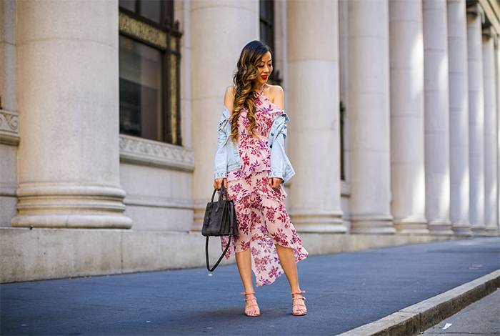 Express Floral Print Tiered Halter Neck Midi Dress, floral midi dress, kendra scott Misha Tassel Earrings, tassel earrings, one teaspoon denim jacket, matisse sandals, saint laurent sac de jour bag, san francisco fashion blog, san francisco street style, spring outfit ideas, how to wear floral midi dress