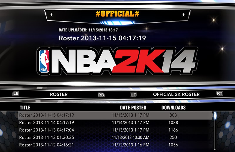 NBA 2K14 Official Roster Update - November 15, 2013 - NBA2K ORG