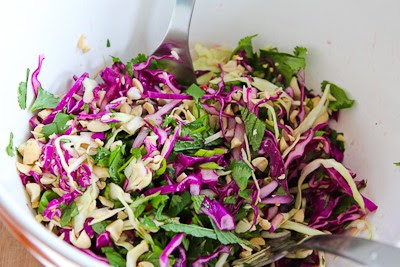 Thai-Style Spicy Cabbage Slaw with Mint and Cilantro found on KalynsKitchen.com