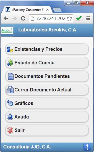 Customer Express: Ventana Principal - Productos Web de eFactory para Móviles y Tabletas
