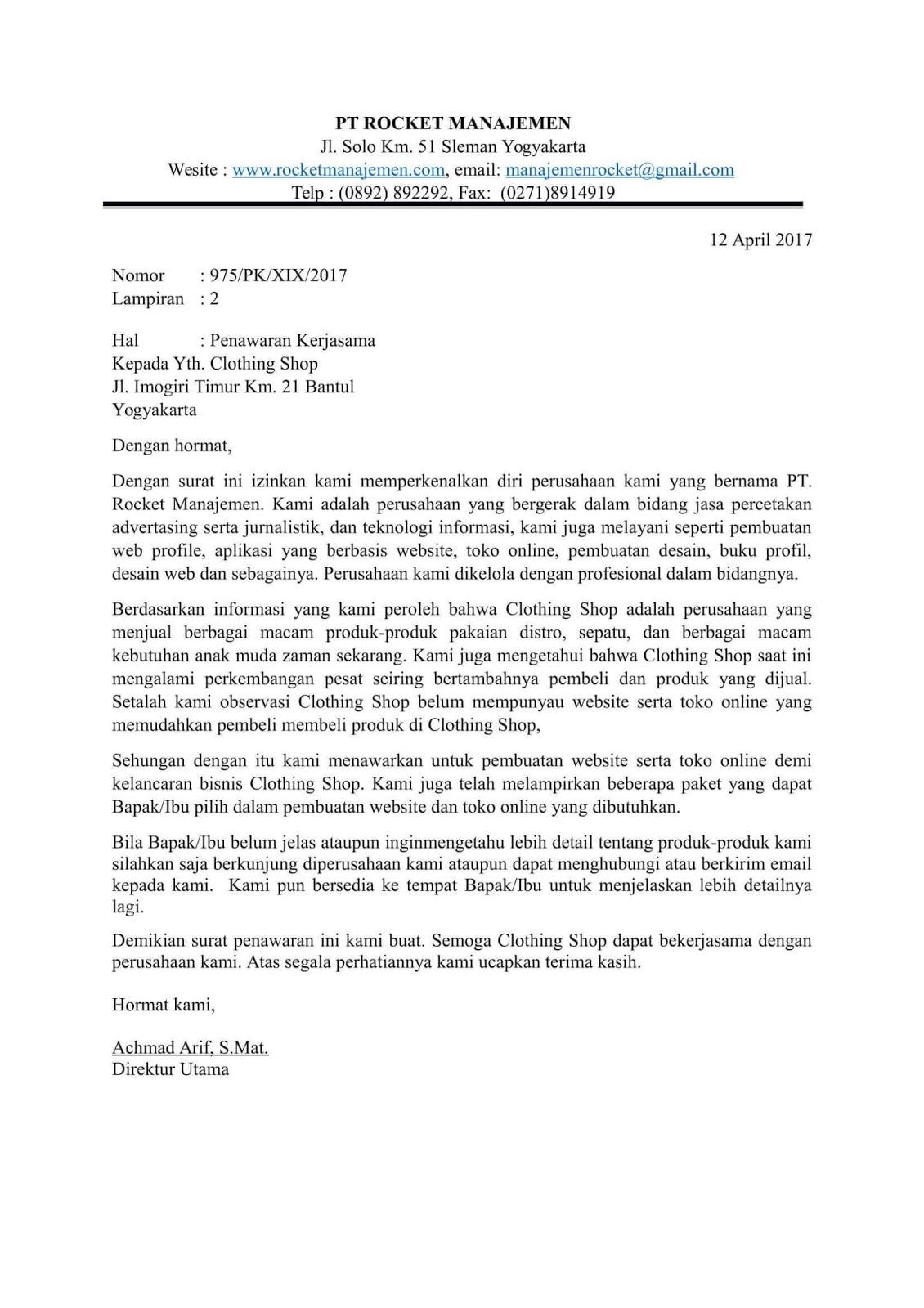 Contoh Surat Penawaran Kerjasama Jasa