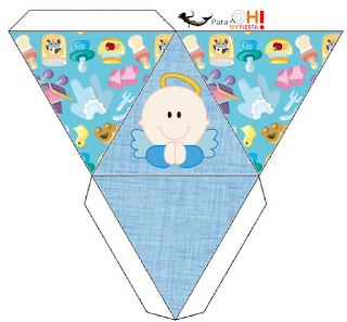 Angel Boy Free Printable Pyramid Box.