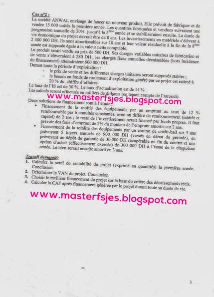 Concours d'accès au Master Comptabilité Contrôle Audit (CCA) 2011-2012