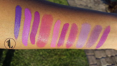 Purple lipstick swatches www.modenmakeup.com