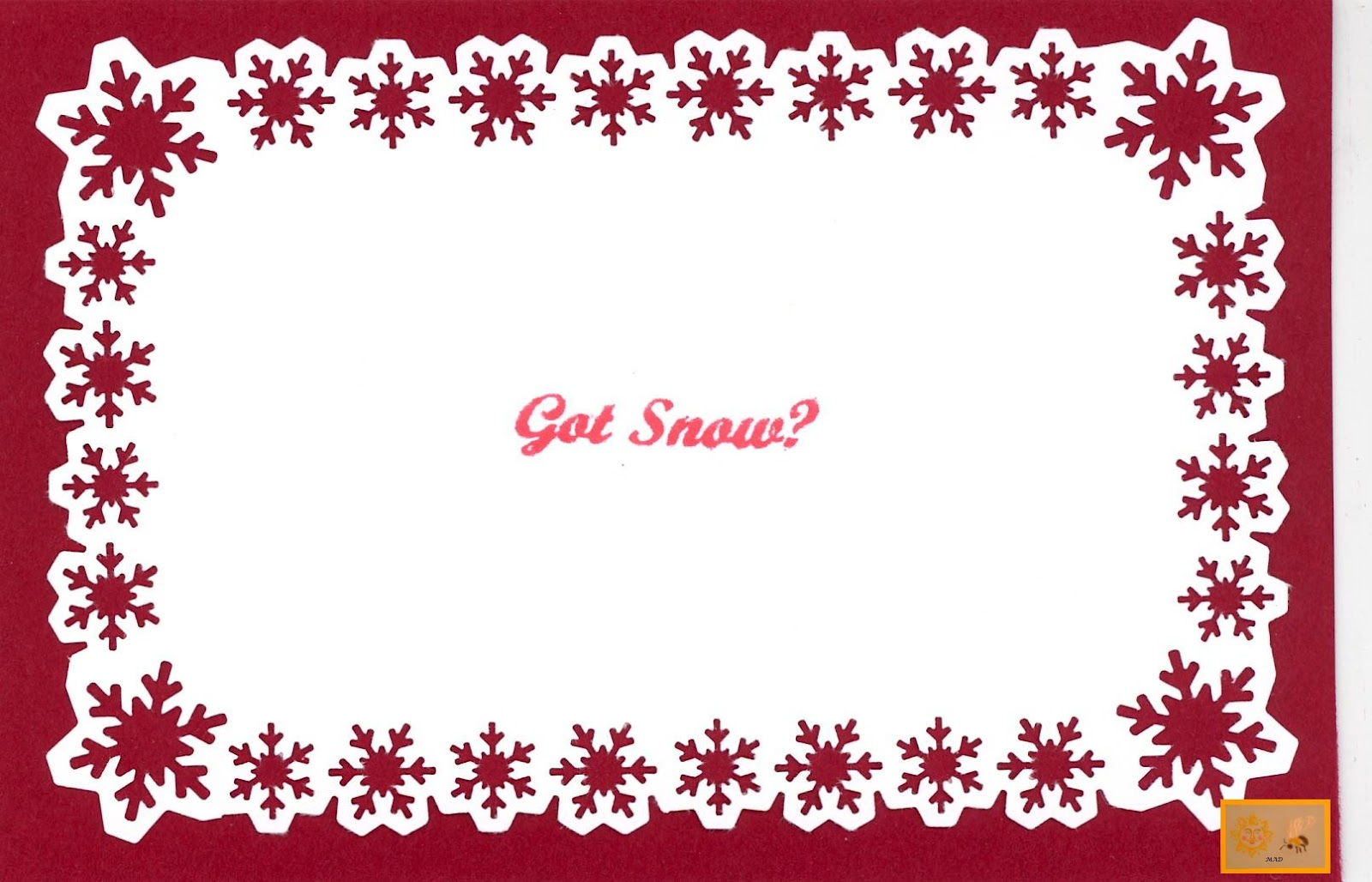 createdsunshine honeybee christmas snowflake border card