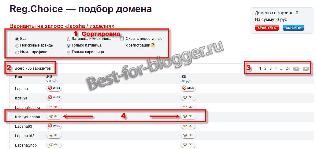 Reg.Choice - podbor domena