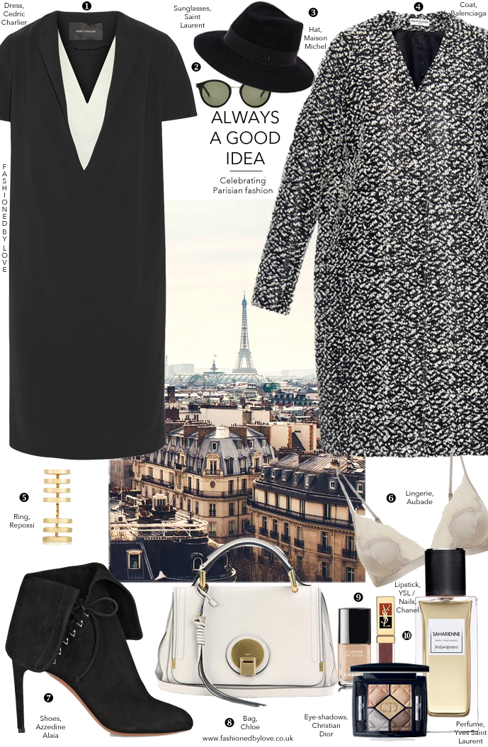 How to dress like Parisian? Here's an outfit idea inspired by Paris fashion week and fashion designers and brands, and styled with Cedric Charlier, Balenciaga, Azzedine Alaia, Maison Michel, Christian Dior, Chloe, Yves Saint Laurent, Repossi and more via www.fashionedbylove.co.uk, style & fashion blog