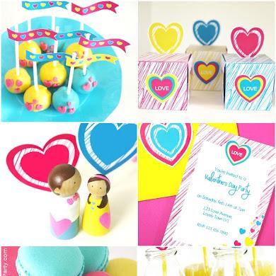 Modern Color Pop Valentine's Day Desserts Table