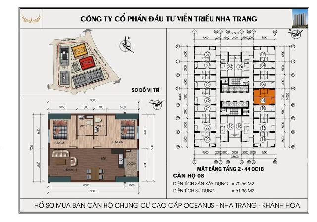 Sơ đồ căn hộ số 08 tòa OC1B Viễn Triều Nha Trang