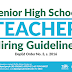 Senior High School Teacher Hiring Guidelines