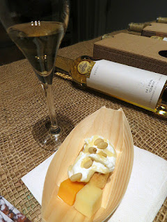 Baked Square Crust filled with fresh Pineapple Jam Fruits and topped with Pine Nuts, paired with 2014 Nomad Vidal Icewine