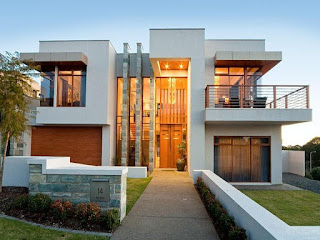 Double storey house faces with long walkway