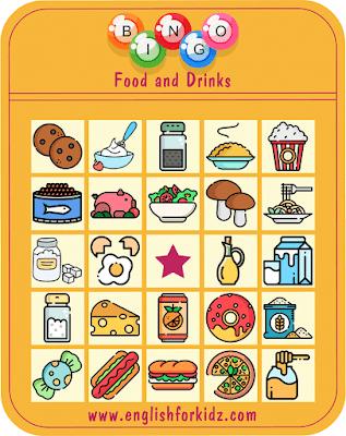 Bingo food and drinks worksheet - free ESL printables