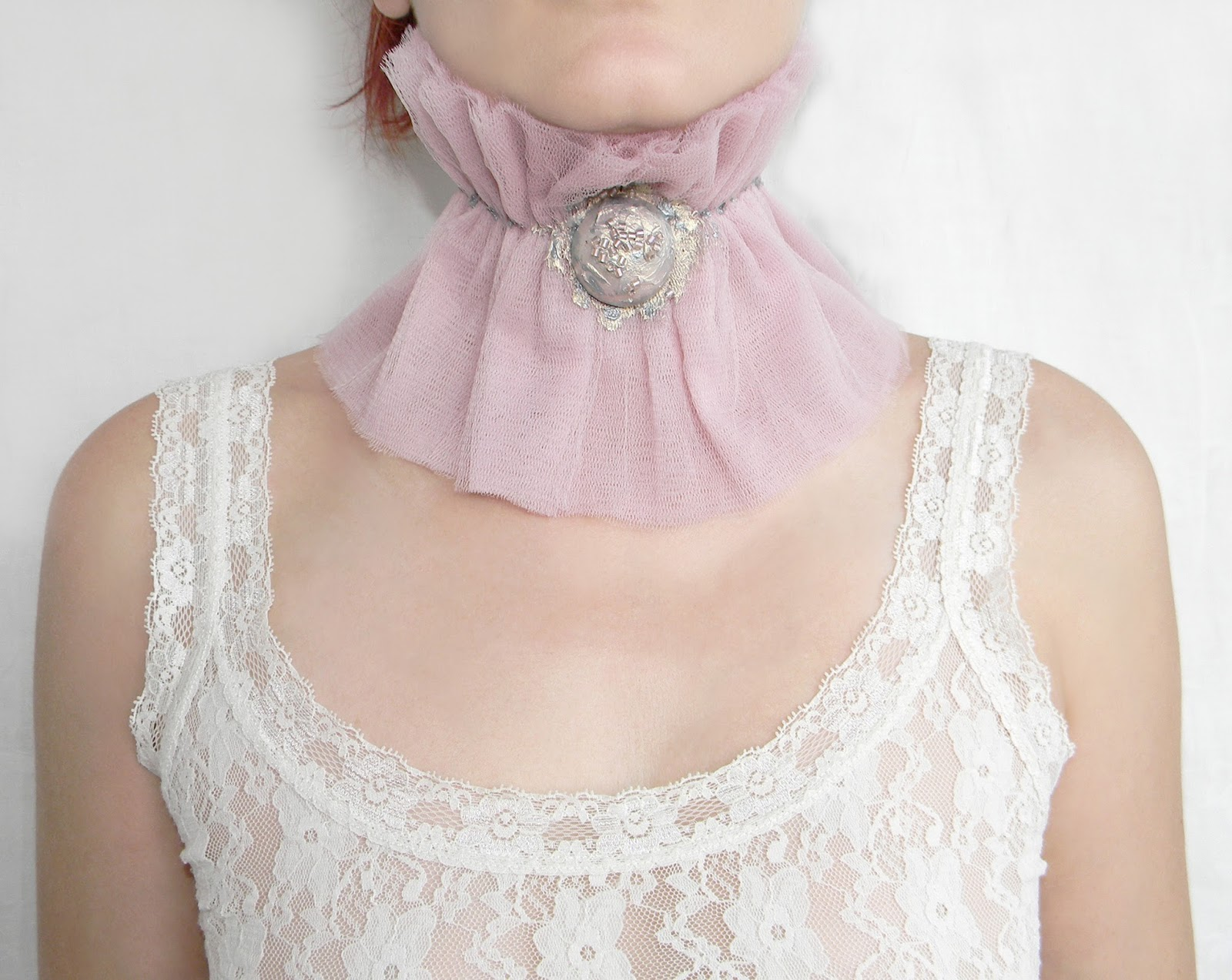 Ruffled Edwardian Victorian Collar Neck Corset of Tulle Layers in Dusty Lilac Pink