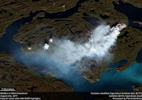 The Sentinel-2 satellite captured a wildfire burning in western Greenland. (Credit: Pierre Markuse/flickr) Click to Enlarge.