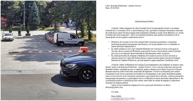 Am solicitat Prefecturii Suceava să retrimită Consiliului Local hotărârea privind transformarea în parcări a străzilor Libertății și Aleea Nucului