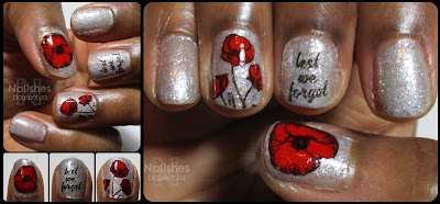 red white and black manicure