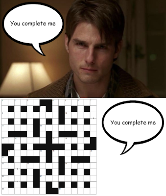 "Tom Cruise as Jerry Maguire: ""You complete me""; and a crossword"