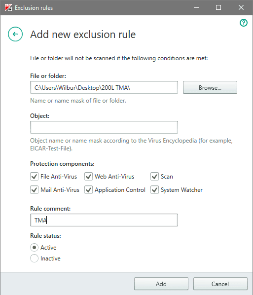 Kaspersky Folde/File Exclusion Rules