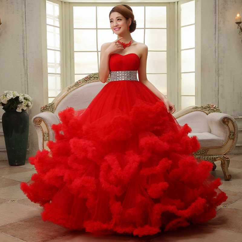 Wedding Gowns From China: Beautiful China Wedding Dress Red And White