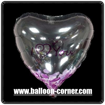 Balon Foil Hati Transparan / Foil Love Transparan