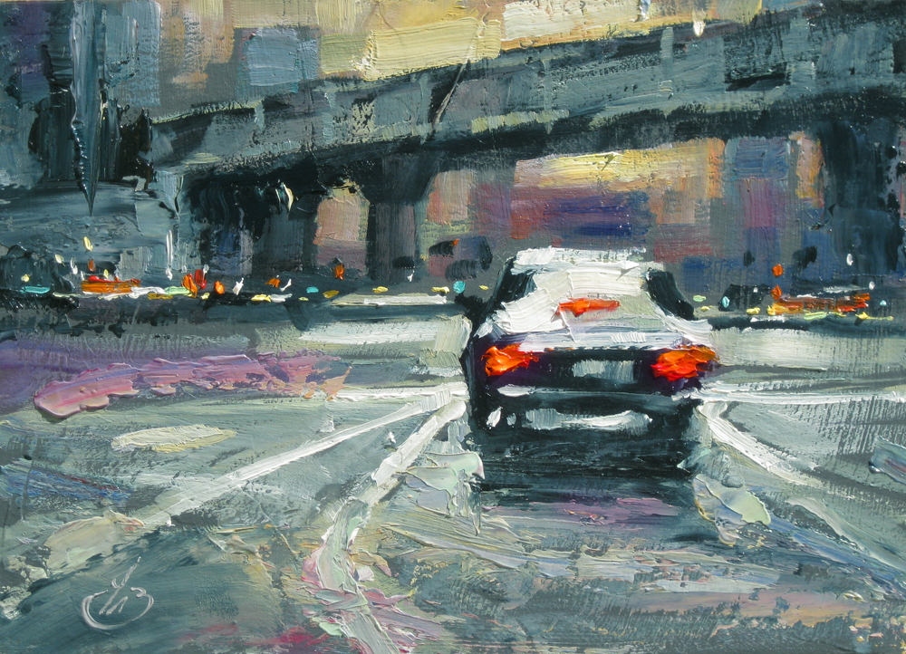 TOM BROWN FINE ART: CITY, URBAN, STREET, CARS, $1 SALE, TOM BROWN ...
