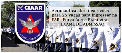 Aeronáutica abre inscrições para 55 vagas de admissão na CIAAR