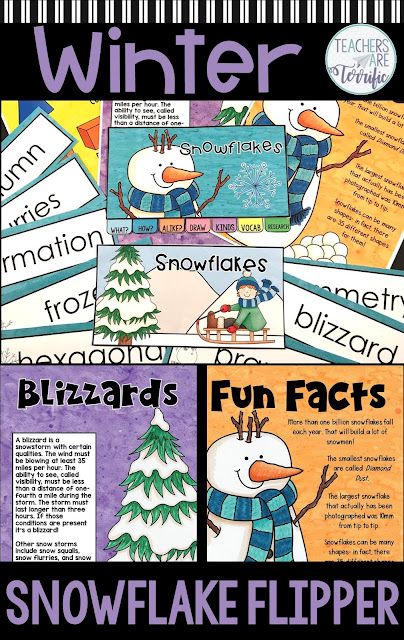 Complete a little flipper booklet all about snowflakes. Students research, sketch, draw, and write about a fascinating winter phenomenon! #snowflakes. #elementary