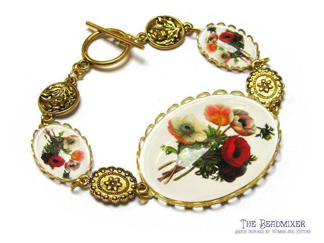 Armband met vintage stijl bloemen