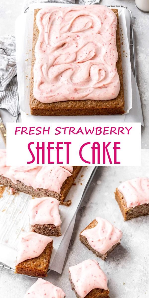 FRESH STRAWBERRY SHEET CAKE #Cakerecipes