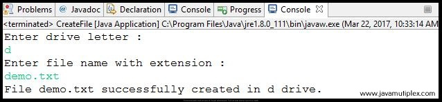 Output of Java program that creates a new file in given drive.