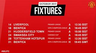 Jadwal Pertandingan Manchester United Oktober 2017