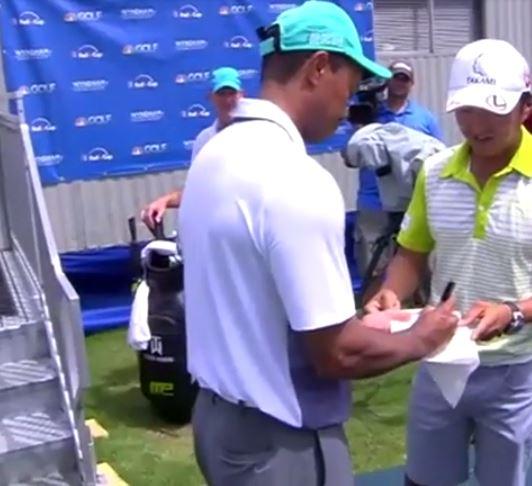 Video: Hideki Matsuyama's Caddie Gets Tiger Woods To Sign ...