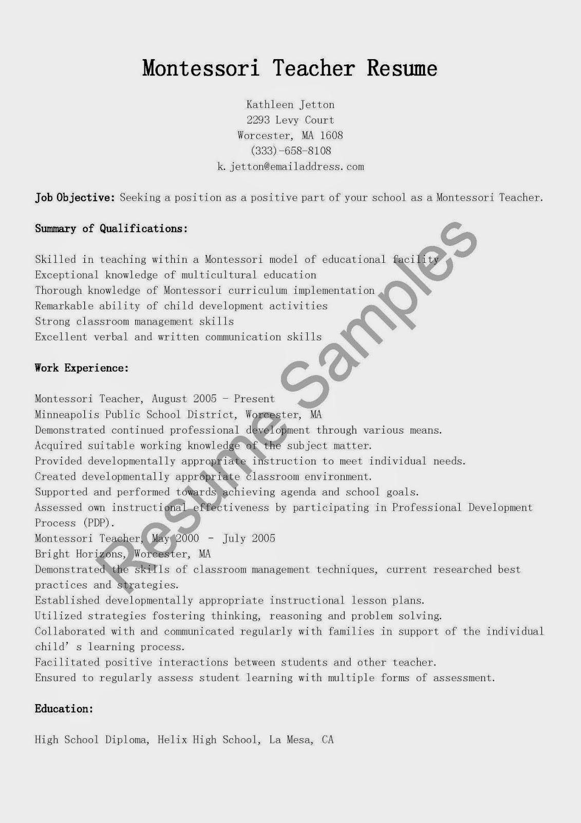Resume Samples Montessori Teacher Resume Sample