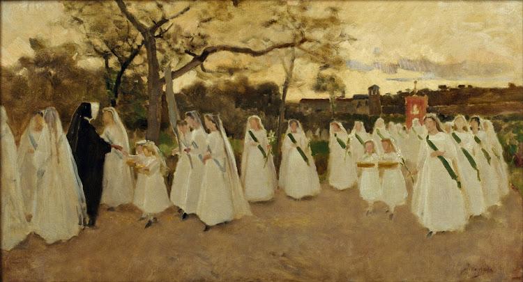 Joaquim Vayreda - Processó de col·legiales (c.1890) - El pintor va realitzar una pintura de gènere on mostra una processó de col·legiales de primera comunió amb una pintura de figures esbossades i colorit suau, pròxim a la pinzellada impressionista, va continuar en el mateix format horitzontal preferit per l'autor.